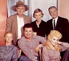 "The cast of ""The Beverly Hillbillies"" – Front row, left to right – Irene Ryan, Max Baer, Jr, Donna Douglas, Back row, left to right – Buddy Ebsen, Nancy Kulp, Raymond Bailey"