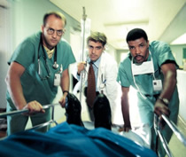 Clooney, Edwards, and La Salle in the early days of ER