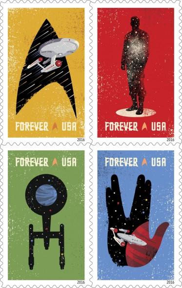 Star Trek TV show 50th Anniversary USPS stamps
