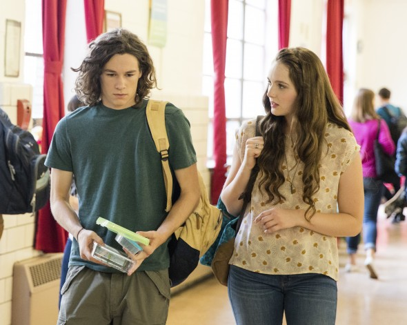 Kyle Allen and Amy Forsyth as as Hawk Lane Eddie and Sarah's teenage son, and Ashley Fields, a popular classmate of Hawk's who is not a member of Meyerism.  Credit: Greg Lewis/Hulu