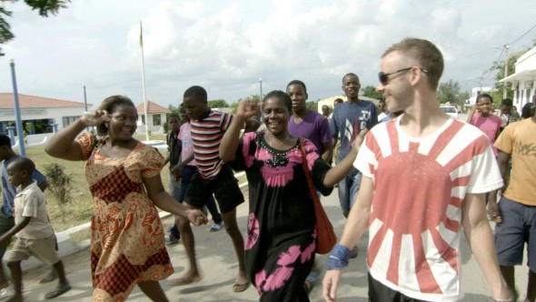 Dominic Monaghan excitedly takes part in the celebrations surrounding the annual fishing festival in Vilanculos, Mozambique.
