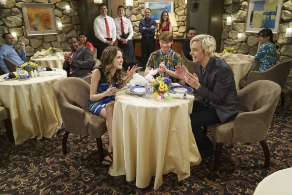 "AUSTIN &; ALLY - ""Musicals & Moving On"" - As the rest of the group prepares for the next phase of their lives, Trish is still determining what her next steps will be. (Disney Channel/Eric McCandless) LAURA MARANO, CALUM WORTHY, ROSS LYNCH"