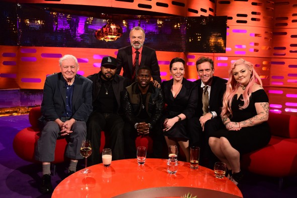 (left to right) Sir David Attenborough, Ice Cube, presenter Graham Norton, Kevin Hart, Olivia Colman, Hugh Laurie and Elle King, during the filming of the Graham Norton Show at The London Studios, south London, to be aired on BBC One on Friday evening. Photo Credit: © BBC