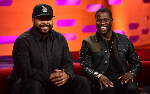 Ice Cube (left) and Kevin Hart during the filming of the Graham Norton Show at The London Studios, south London, to be aired on BBC One on Friday evening. Photo Credit: © BBC