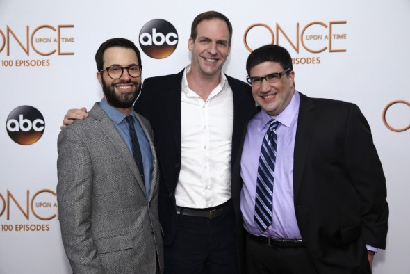 (ABC/Jack Rowand) EDWARD KITSIS (EXECUTIVE PRODUCER, ONCE UPON A TIME), PATRICK MORAN (EXECUTIVE VICE PRESIDENT, ABC STUDIOS), ADAM HOROWITZ (EXECUTIVE PRODUCER, ONCE UPON A TIME)