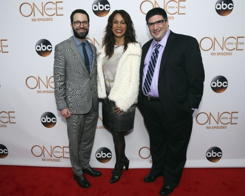 EDWARD KITSIS (EXECUTIVE PRODUCER, ONCE UPON A TIME), CHANNING DUNGEY (PRESIDENT, ABC ENTERTAINMENT), ADAM HOROWITZ (EXECUTIVE PRODUCER, ONCE UPON A TIME)
