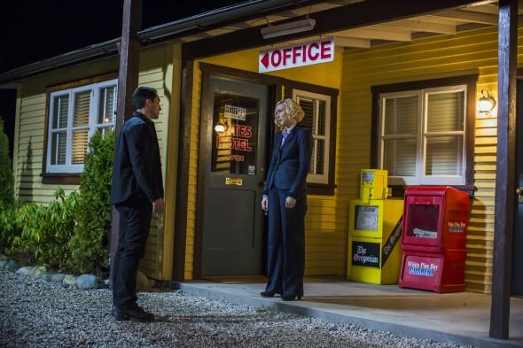 Bates Motel: Nestor Carbonell and Vera Farmiga. Photo by James Dittiger Copyright 2016