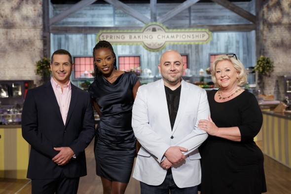 Host Bobby Deen, left, poses with the judges, from left, Lorraine Pascale, Duff Goldman, and Nancy Fuller, as seen on Food Network's Spring Baking Championship, Season 2.