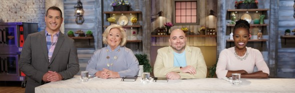 Host Bobby Deen with judges Nancy Fuller, Duff Goldman, and Lorraine Pascale.