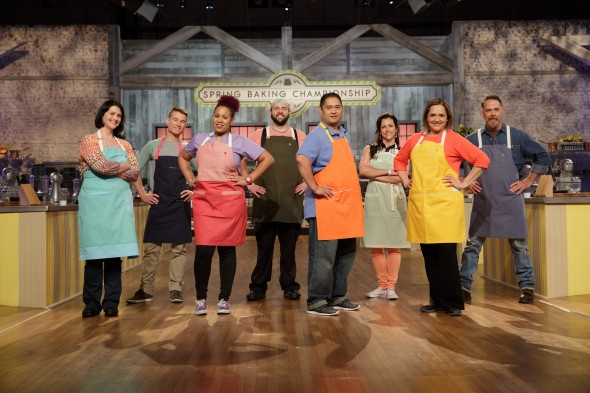 Contestants from left, Jane Soudah, Dan Langan, Najie Mercedes, Dustin Charbonneau, Kenny Magana, Audrey McGinnis, Susana Mijares, and William Poole pose for a photo during Food Network's Spring Baking Championship, Season 2.