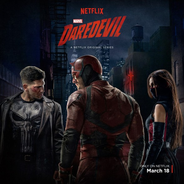 Marvel's Daredevil TV show on Netflix: season 2 poster with Daredevil, The Punisher, Elektra (season two canceled or renewed?)