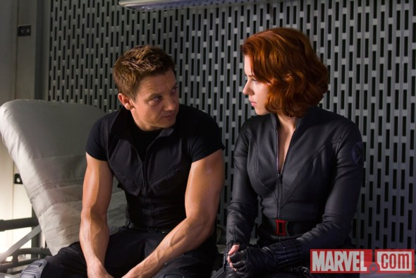 Jeremy Renner and Scarlett Johansson star as Hawkeye and the Black Widow in Marvel's The Avengers, via Marvel.com