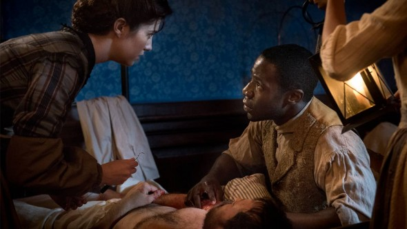 McKinley Belcher III as Samuel Diggs and Mary Elizabeth Winstead as Nurse Mary Phinney. Courtesy of Antony Platt/PBS