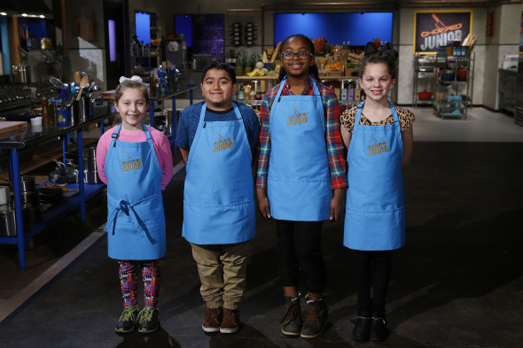 From left, junior chefs Sophie Bravo, Joshua Pantoja, Caryn Cummings and Haley Mattes pose as seen on Food Network's Chopped Junior, Season 2.