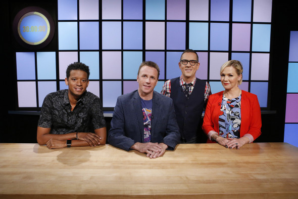 From left, judges Roble Ali, Marc Murphy and Jennie Garth pose with host Ted Allen as seen on Food Network's Chopped Junior, Season 2.