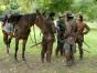 Porthos (HOWARD CHARLES) Athos (TOM BURKE), Aramis (SANTIAGO CABRERA) and D'Artagnan (LUKE PASQUALINO). © BBC 2014.