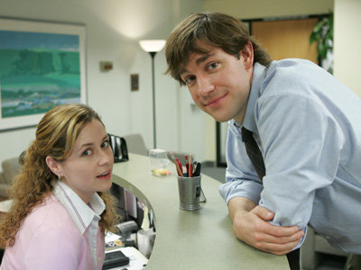 The Office TV show on NBC: Jim and Pam; John Krazinski and Jenna Fischer