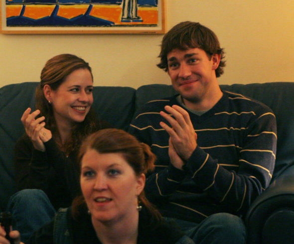 The Office TV show on NBC: Jenna Fischer as Pam Beesly and John Krasinski as Jim Halpert