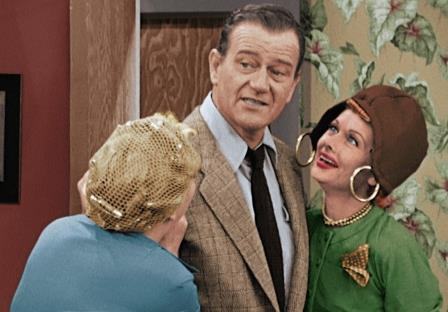 I Love Lucy TV show on CBS: colorized special; I lLove Lucy Lucille Ball John Wayne.