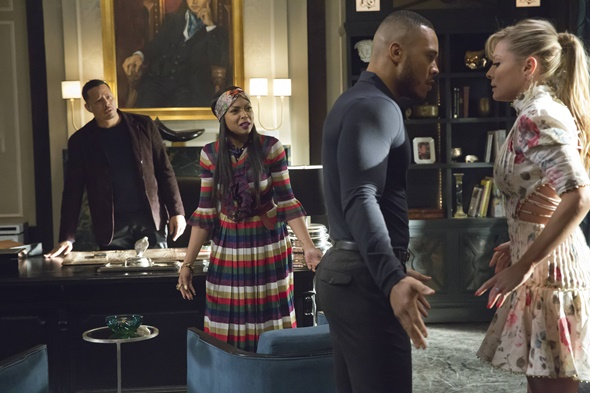 "EMPIRE: Pictured L-R: Terrence Howard, Taraji P. Henson, Trai Byers and Katilin Doubleday in the ""Past is Prologue"" season finale episode of EMPIRE airing Wednesday, May 18 (9:00-10:00 PM ET/PT) on FOX. ©2016 Fox Broadcasting Co. CR: Chuck Hodes/FOX"
