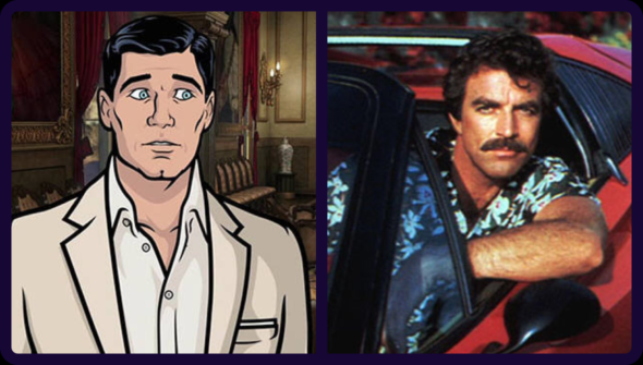 Archer and Magnum PI TV shows