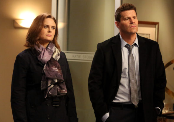 "BONES: L-R: Emily Deschanel and David Boreanaz in the ""The Head in the Abutment"" episode of BONES airing Thursday, June 16 (8:00-9:00 PM ET/PT) on FOX. ©2016 Fox Broadcasting Co. Cr: Patrick McElhenney/FOX"