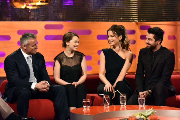 Graham Norton Show TV show on BBC America; Friends TV show on NBC; Game of Thrones TV show on HBO. Matt LeBlanc, Emilia Clarke.