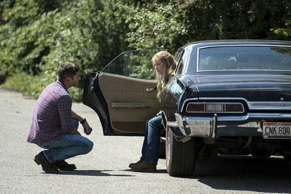 Supernatural TV show on The CW: season 12 (cancelled or renewed?). Baby Supernatural, black 1967 Impala.
