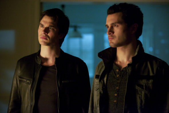 "The Vampire Diaries -- ""Resident Evil"" - Image Number: VD518b_0095.jpg -- Pictured (L-R): Ian Somerhalder as Damon and Michael Malarkey as Enzo -- Photo: Annette Brown/The CW -- © 2014 The CW Network, LLC. All rights reserved"