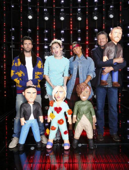 "THE VOICE -- ""Season 11 Press Junket"" -- Pictured: (l-r) Adam Levine, Miley Cyrus, Alicia Keys, Blake Shelton -- (Photo by: Trae Patton/NBC)"