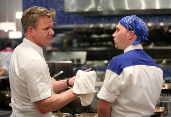 "HELL'S KITCHEN: L-R: Chef / host Gordon Ramsay and contestant Matt in the all-new ""Let The Catfights Begin"" episode of HELL's KITCHEN airing Friday, Nov. 4 (8:00-9:01 PM ET/PT) on FOX. Cr: Greg Gayne / FOX. © 2016 FOX Broadcasting Co."
