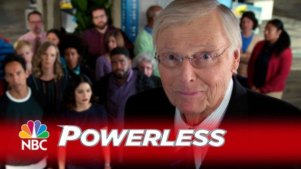 Adam West cameo: Powerless TV show on ABC: canceled, no season 2 (canceled or renewed?)