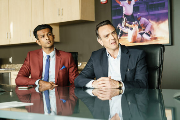 Brockmire TV show on IFC: canceled or season 3? (release date); Vulture Watch; Pictured: Utkarsh Ambudkar, Hank Azaria