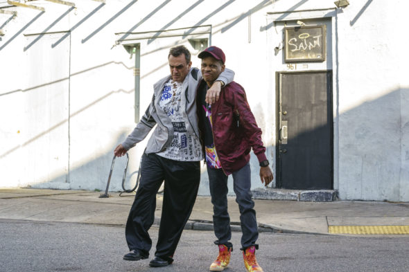 Brockmire TV show on IFC: season 2 viewer votes episode ratings (canceled renewed season 3?); Pictured: Hank Azaria, Tyrel Jackson Williams