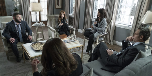 TV series finale; Scandal TV show on ABC: ending, no season 8 (canceled or renewed?); Pictured: GUILLERMO DIAZ, DARBY STANCHFIELD, KERRY WASHINGTON, TONY GOLDWYN