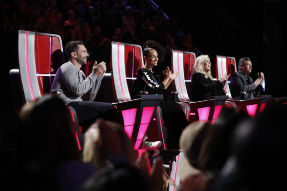 TV series auditions: The Voice TV show on NBC: season 15 (canceled or renewed?); Pictured: (l-r) Adam Levine, Alicia Keys, Kelly Clarkson, Blake Shelton