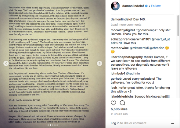 Damon Lindelof page 2 of 5; Watchmen TV show on HBO: canceled or renewed?