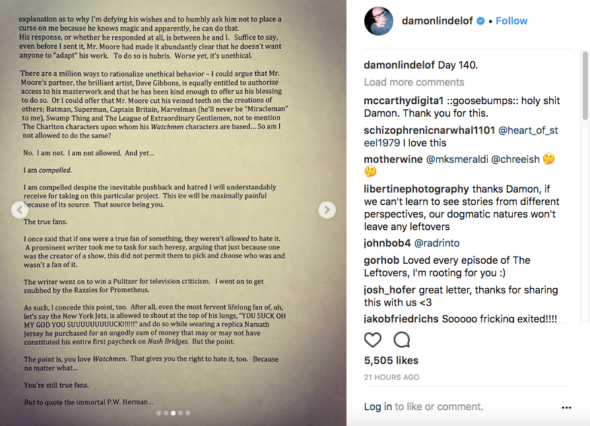 Damon Lindelof page 3 of 5; Watchmen TV show on HBO: canceled or renewed?