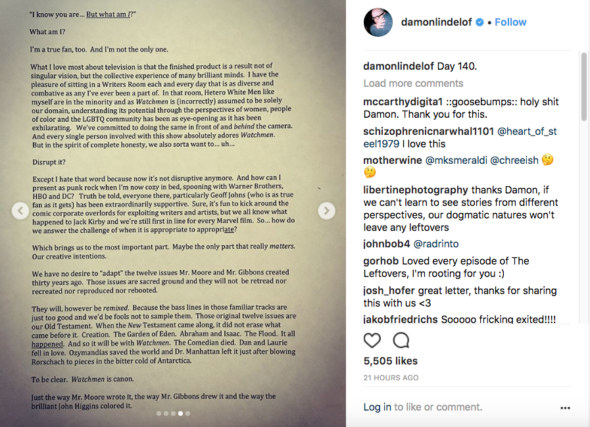 Damon Lindelof page 4 of 5; Watchmen TV show on HBO: canceled or renewed?