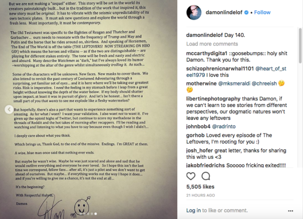 Damon Lindelof page 5 of 5; Watchmen TV show on HBO: canceled or renewed?