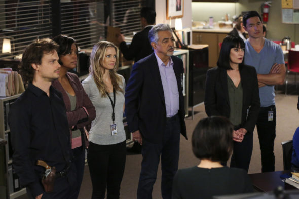 Criminal Minds TV show on CBS: season 14 (canceled or renewed?); Pictured: Matthew Gray Gubler (Dr. Spencer Reid), Aisha Tyler (Dr. Tara Lewis), A.J. Cook (Jennifer Jareau), Joe Mantegna (David Rossi), Paget Brewster (Emily Prentiss), Daniel Henney (Matt Simmons)