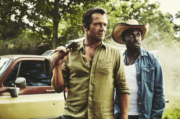Hap and Leonard TV show on SundanceTV: canceled, no season 4 (canceled or renewed?); Pictured: James Purefoy as Hap Collins and Michael Kenneth Williams as Leonard Pine