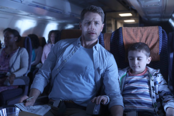 Manifest TV show on NBC: season 1 (canceled or renewed?); Pictured: Josh Dallas as Ben Stone, Jack Messina as Cal Stone