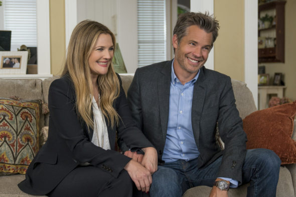 Santa Clarita Diet TV show on Netflix: season 3 renewal (canceled or renewed?); Pictured: Drew Barrymore, Timothy Olyphant