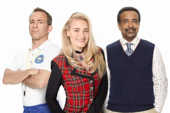 The Goldbergs spinoff; Schooled TV show on ABC: season 1 (canceled or renewed?); Bryan Callen as Coach Mellor, AJ Michalka as Lainey Lewis, and Tim Meadows as Principal Glascott.