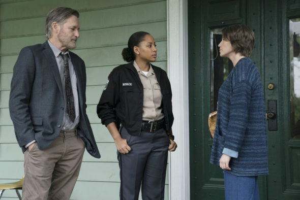 The Sinner TV show on USA Network: season 2 (canceled or renewed?); Pictured: (l-r) Bill Pullman as Detective Lt. Harry Ambrose, Natalie Paul as Heather, Carrie Coon as Vera Walker