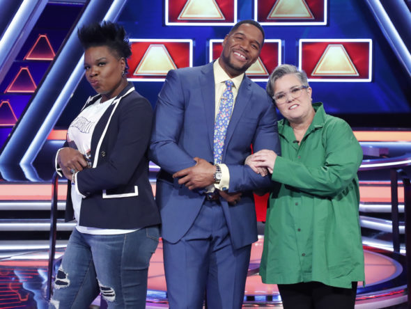 THE $100,000 PYRAMID TV show on ABC: season 3 viewer votes (cancel or renew for season 4?) Pictured: LESLIE JONES, MICHAEL STRAHAN, ROSIE O'DONNELL