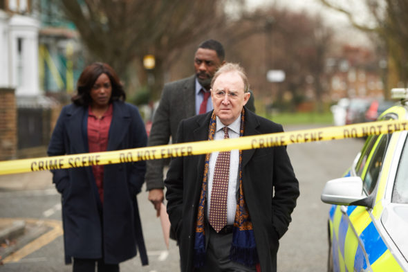 Luther TV show on BBC America: canceled or season 6? (release date); Vulture Watch; Pictured: Wunmi Mosaku as DS Halliday, Idris Elba as DCI John Luther, Dermot Crowley as DSU Martin Schenk